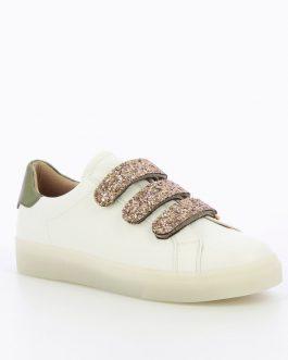 Baskets blanches à scratchs pailletés