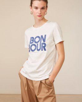 Morel Nouveauté T-shirt message brodé BONJOUR