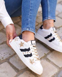 Sneakers – Étoile – Femme – Cloutée – Or