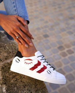 Sneakers – Femme – Glitters – Rouge