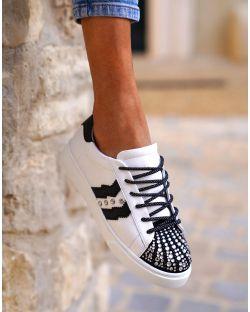 Sneakers – Femme – Diamant – Blanche Et Noire