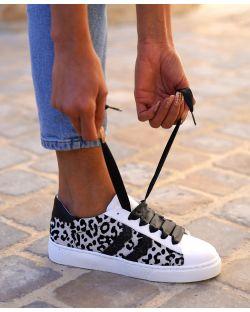 Sneakers – Femme – Imprimé Léopard – Blanche Et Noire