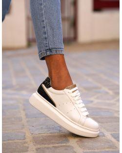 Sneakers – Femme – Semelle Épaisse – Blanche