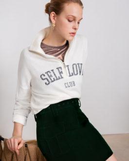 Pegaze  Pull fin zippé à message brodé «SELF LOVE CLUB»