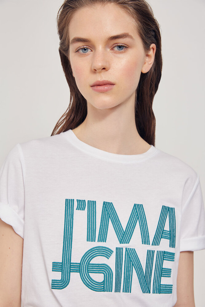 Myrith Tee-shirt coton brodé «J'imagine»