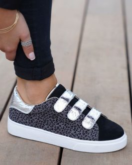 Cl11 Sneakers – Craquelé – Femme – Léopard – Argent